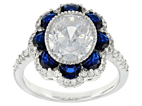 Blue Synthetic Spinel And White Cubic Zirconia Rhodium Over Sterling Silver Ring 5.58ctw