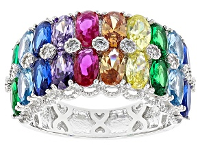 Multicolor Cz, Blue Synth Spinel, Emerald Simulant ,Red Synth Corundum Rhodium Over  Ring 5.14ctw