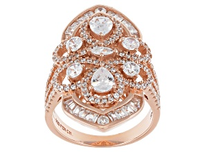 White Cubic Zirconia 18k Rg Over Sterling Silver Ring 4.37ctw