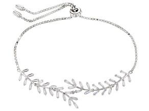 White Cubic Zirconia Rhodium Over Sterling Silver Adjustable Bracelet 2.89ctw