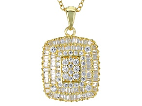 White Cubic Zirconia 18k Yg Over Sterling Silver Pendant With Chain 1.70ctw