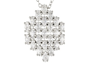 White Cubic Zirconia Rhodium Over Sterling Silver Pendant With Chain 3.29ctw
