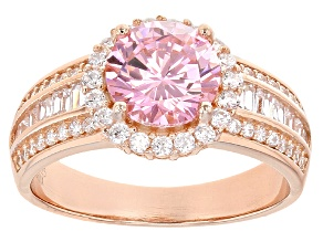 Pink And White Cubic Zirconia 18k Rg Over Sterling Silver Ring 4.80ctw