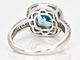 Lab Created Blue Spinel, Blue And White Cubic Zirconia Rhodium Over Sterling Ring 4.67ctw