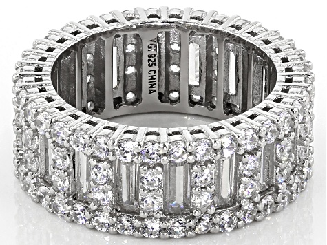 White Cubic Zirconia Rhodium Over Sterling Silver Ring 10.39ctw