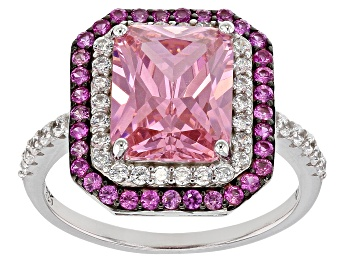 Picture of Pink Lab Created Sapphire, Pink And White Cubic Zirconia Rhodium Over Sterling Silver Ring 6.51ctw