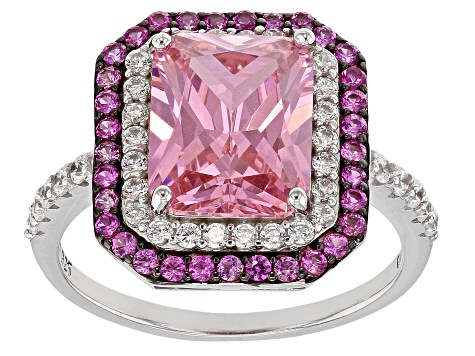 Natural top quality beautiful amazing style pink ruby gem sterling silver ring with synthetic white zircon gems around it