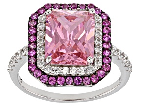 Pink Lab Created Sapphire, Pink And White Cubic Zirconia Rhodium Over Sterling Ring 6.51ctw