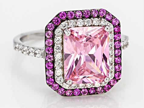 Pink Lab Created Sapphire, Pink And White Cubic Zirconia Rhodium Over Sterling Silver Ring 6.51ctw