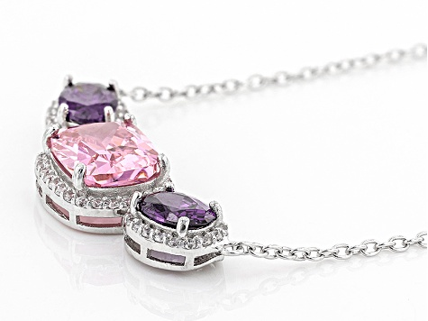 Pink White And Purple Cubic Zirconia Rhodium Over Sterling Silver Necklace 7.55ctw