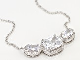 White Cubic Zirconia Rhodium Over Sterling Silver Necklace 7.55ctw
