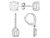 White Cubic Zirconia Rhodium Over Sterling Silver Earrings Set 9.98ctw