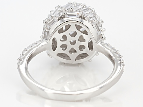 White Cubic Zirconia Rhodium Over Sterling Silver Ring 4.58ctw