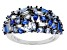 Blue Synthetic Spinel Black And White Rhodium Over Sterling Ring 5.68ctw