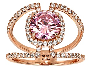 Pink And White Cubic Zirconia 18k Rg Over Sterling Silver Ring 4.32ctw