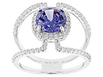 Picture of Blue And White Cubic Zirconia Rhodium Over Sterling Silver Ring 4.32ctw
