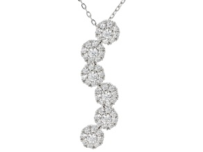 White Cubic Zirconia Rhodium Over Sterling Silver Pendant With Chain 1.70ctw
