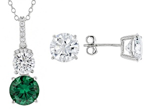 Green And White Cubic Zirconia Rhodium Over Sterling Silver Jewelry Set 11.80ctw
