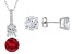Synthetic Ruby And White Cubic Zirconia Rhodium Over Sterling Silver Jewelry Set 11.80ctw