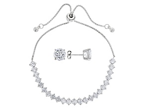 White Cubic Zirconia Rhodium Over Sterling Silver Jewelry Set 13.59ctw
