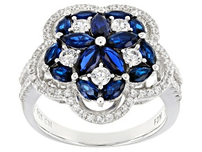 Blue Synthetic Spinel And White Cubic Zirconia Rhodium Over Sterling Ring 3.97ctw