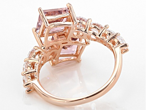 Pink Nanocrystal And White Cubic Zirconia 18k Rg Over Sterling Silver Ring 9.07ctw