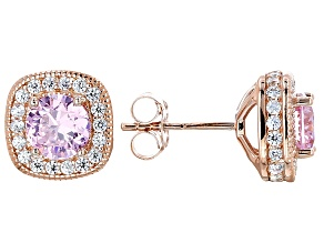 Pink And White Cubic Zirconia 18k Rg Over Sterling Silver Earrings 4.08ctw