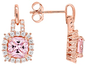Pink And White Cubic Zirconia 18k Rg Over Sterling Silver Earrings 3.51ctw