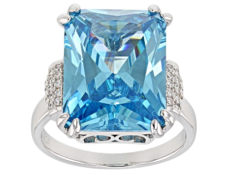 Blue Synthetic Spinel And White Cubic Zirconia Rhodium Over Sterling Silver Ring 20.57ctw
