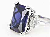 Blue And White Cubic Zirconia Rhodium Over Sterling Silver Ring 20.57ctw