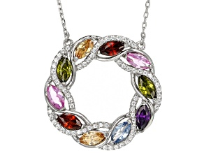 Red Synth Corundum/White/Green/Red/Purple/Brown/Blue Cz Rhodium Over Sterling Necklace 3.70ctw