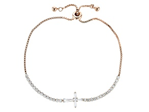White Cubic Zirconia 18k Rose Gold Over Sterling Silver Adjustable Bracelet 3.32ctw