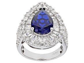 Blue Synthetic Spinel And White Cubic Zirconia Rhodium Over Sterling Silver Ring 11.83ctw