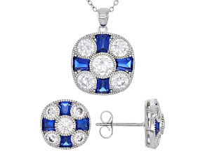 Lab Created Blue Spinel And White Cubic Zirconia Rhodium Over Sterling Jewelry Set 10.35ctw