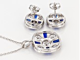 Blue Synthetic Spinel And White Cubic Zirconia Rhodium Over Sterling Jewelry Set 10.35ctw