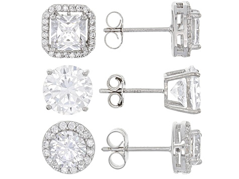 white cubic zirconia rhodium over sterling silver earrings set 14.52ctw