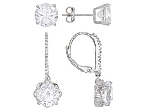 White Cubic Zirconia Rhodium Over Sterling Silver Earrings Set Of 2 14.36ctw