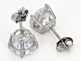 white cubic zirconia rhodium over sterling silver earrings set 9.78ctw