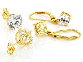 White Cubic Zirconia 18K Yellow Gold Over Sterling Silver Earrings Set 9.78ctw