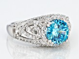 Blue And White Cubic Zirconia Rhodium Over Sterling Silver Ring 4.99ctw