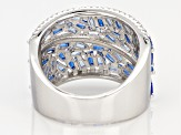 Blue Lab Created Spinel and White Cubic Zirconia Rhodium Over Sterling Ring 3.07ctw