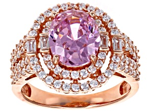 Pink and White Cubic Zirconia 18k Rose Gold Over Sterling Silver Ring 6.24ctw