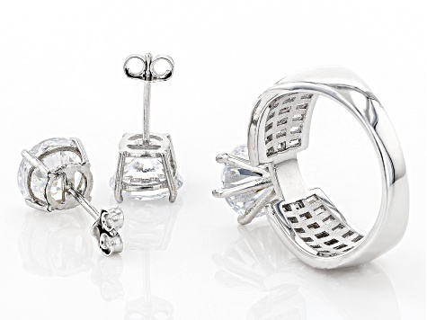 white cubic zirconia rhodium over sterling silver ring and earrings 12.66ctw