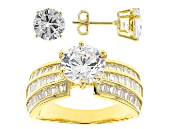 Picture of White Cubic Zirconia 18K Yellow Gold Over Sterling Silver Ring And Earrings 12.66ctw