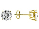 White Cubic Zirconia 18K Yellow Gold Over Sterling Silver Ring And Earrings 12.66ctw