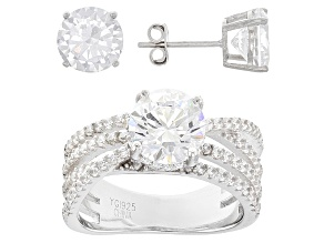 White Cubic Zirconia Rhodium Over Sterling Silver Ring and Earrings 11.34ctw