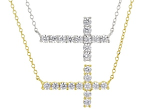 White Cubic Zirconia 18k Rg Over Sterling And Rhodium Over Sterling Cross Necklaces 2.28ctw