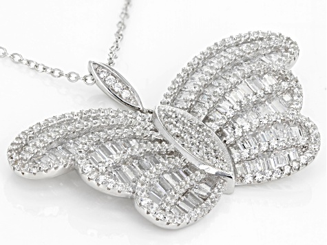 White Cubic Zirconia Rhodium Over Sterling Silver Butterfly Pendant With Chain 6.45ctw