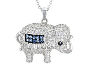 Blue Lab Created Spinel And White Cubic Zirconia Rhodium Over Silver Elephant Pendant With Chain