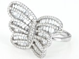 White Cubic Zirconia Rhodium Over Sterling Silver Butterfly Ring 4.12ctw
